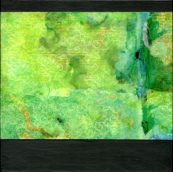 "<center>Green Brocade ll (2015) 8""x8""<br/>transparent acrylic skin on wood panel<br/></br> <em>The luminous quality of Green Brocade ll speaks to the vibrant layers evoking a sense of depth in this work. Watercolor abstractions blend into the patterns eroding the delicate lines to form a richer more complex composition. The iridescent effect embedded in between applications of acrylic combines to form a sculptural quality. 